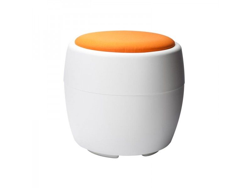 This Orange Candy Ottoman by CORT Events is great inspiration for dorm seating with hidden storage! | cortevents.com