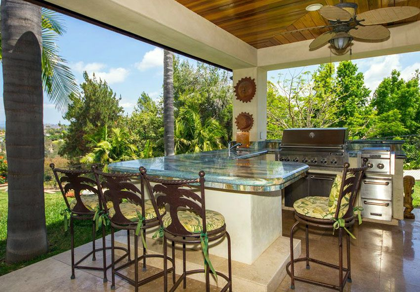 Tropical Outdoor Kitchen With Granite Counter Peninsula Bar Beauteous Tropical Outdoor Kitchen Designs
