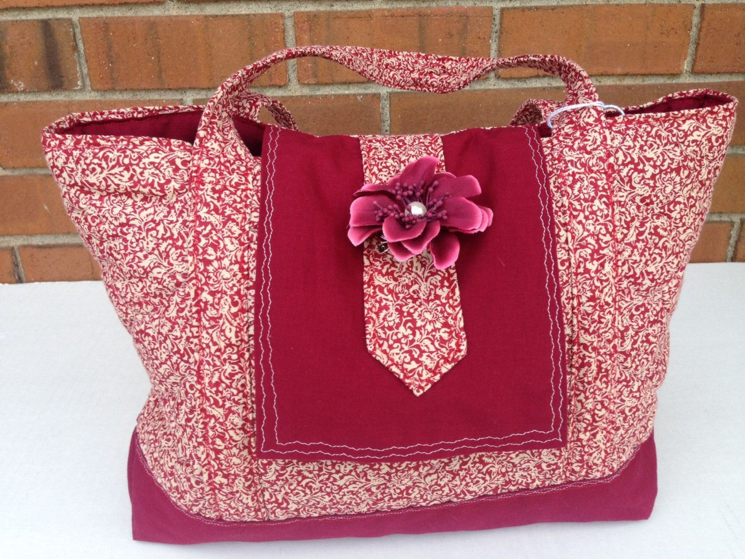 Quilted Burgandy Purse (336) by MothersApronString on Etsy