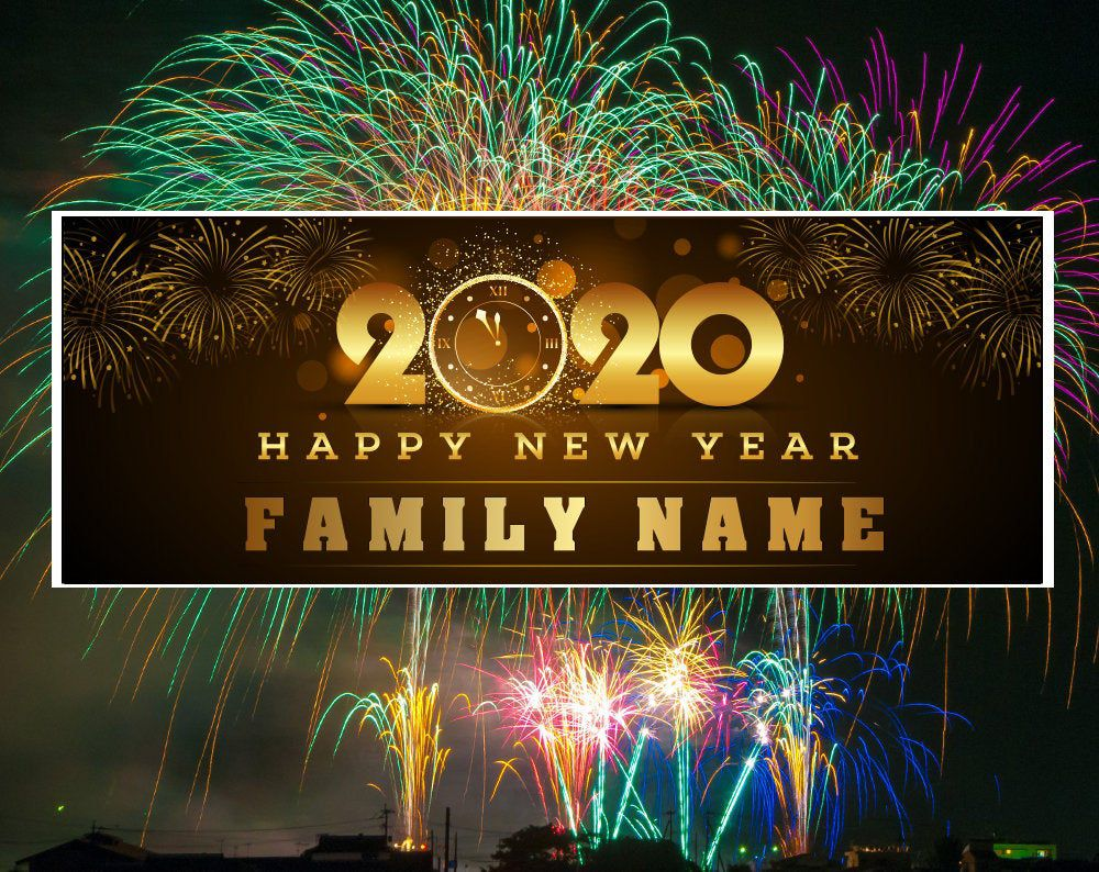 2020 New Years Party Banner, Fireworks Personalized Custom