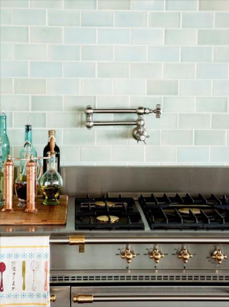 Exceptional Blue Subway Tiles, Transitional, Kitchen, Decor De Provence   Beautiful  Blue Glass Tiles Backsplash, Pot Filler And Copper Pepper Mills.