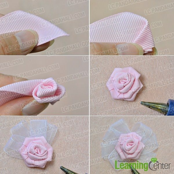 make a pink ribbon flower #ribbonflower
