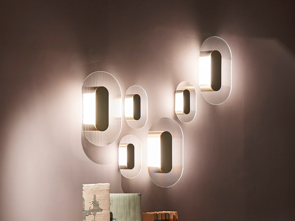 Led Indirect Light Glass Wall Light Button By Baxter Design Federico Peri Glass Wall Lights Wall Lights Wall Lighting Design