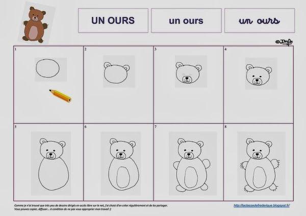 Laclassedefrederique dessins dirig s dessiner pinterest dessin boucles et contes - Comment dessiner un ours ...