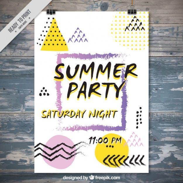 Affiche d'été du parti dans le style memphis Vecteur gratuit