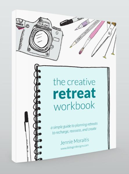 Get your creative juices flowing with The Creative Retreat Workbook by Jennie Moraitis