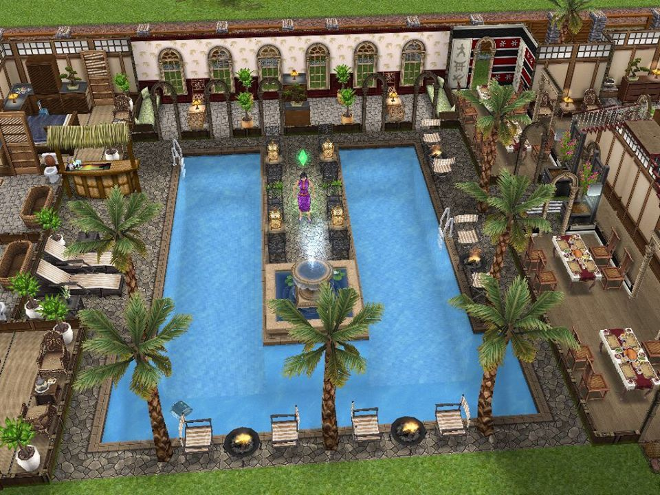 Sims freeplay cool mansion love the center pool area for Casa de diseno sims freeplay