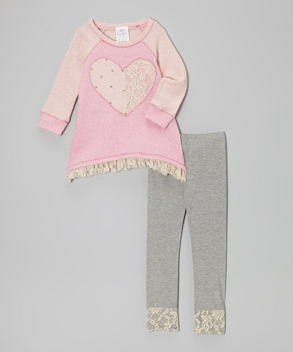 Look at this #zulilyfind! Pink Lace Heart Tunic & Gray Leggings - Toddler & Girls by Freckles + Kitty #zulilyfinds