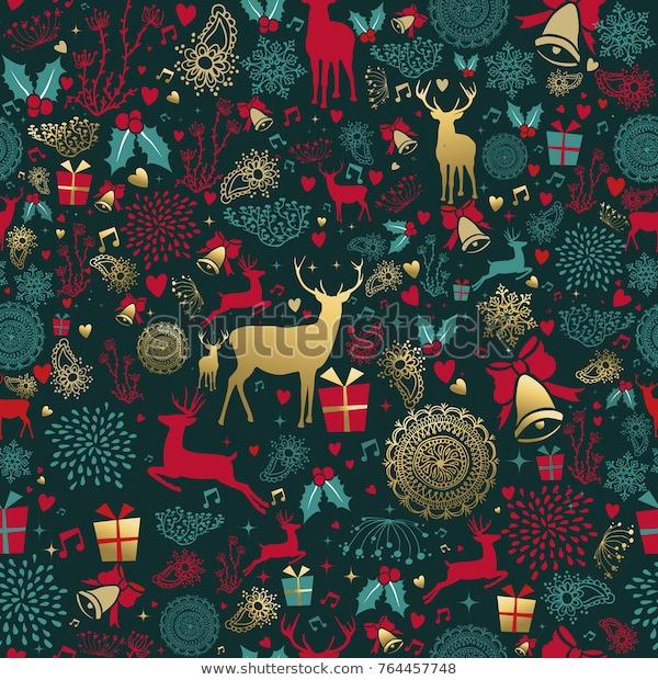 Merry Christmas Seamless Pattern Gold Deer Stock Vector