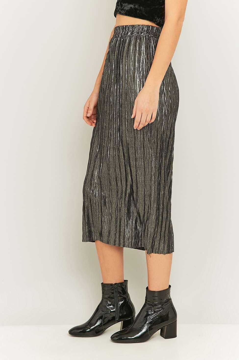 Pins & Needles Metallic Silver Pleated Midi Skirt | Shops, Skirts ...