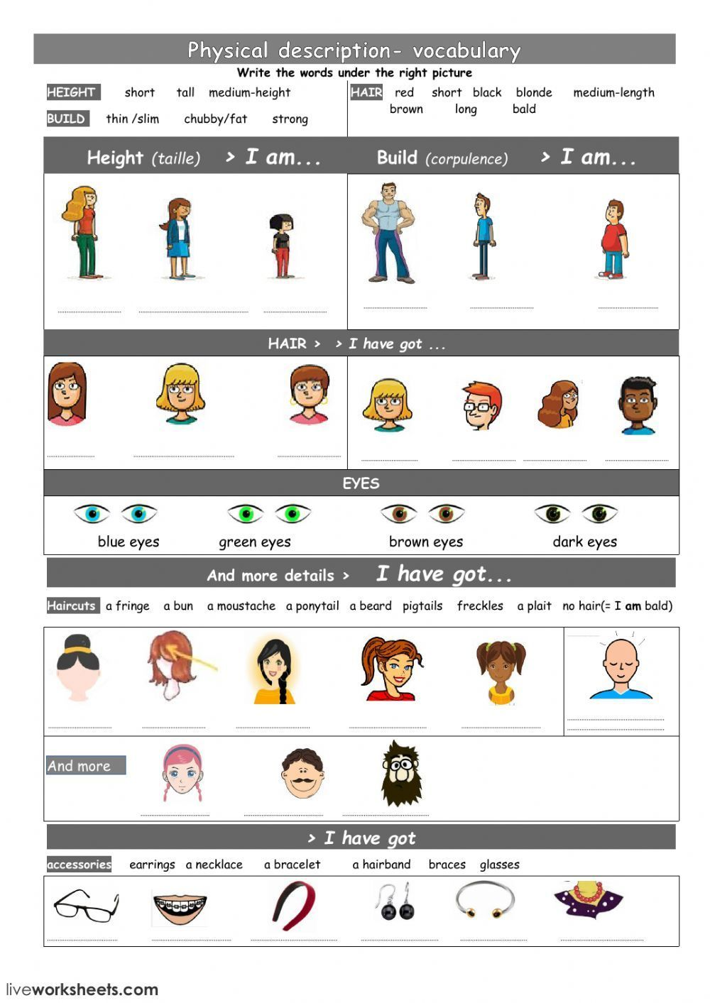Physical appearance vocabulary Interactive worksheet
