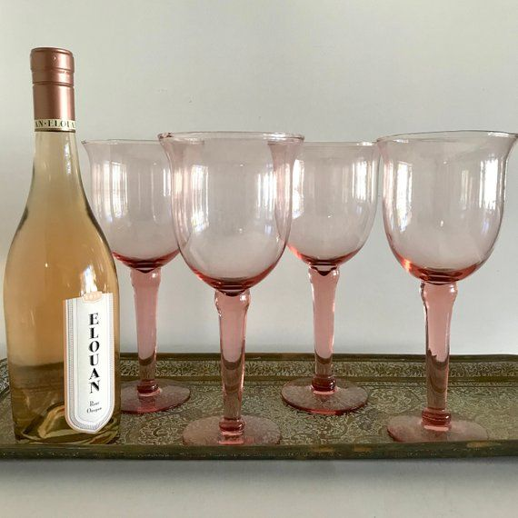 2f6258fb9e Extra Large Pink Glass Goblets - Blush Wine Glasses - Set of 4 - Vintage  Stemware - Wedding - Baby S