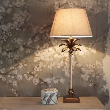 Coloured palm tree table lamp base copper coloured palm tree table lamp base mozeypictures Images