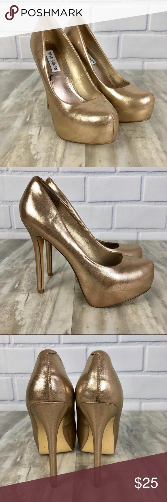 32cede22541 Steve Madden NALA Gold Metallic Heels Preowned Women s Steve Madden NALA  Shimmer Platform Heels Size 7.5