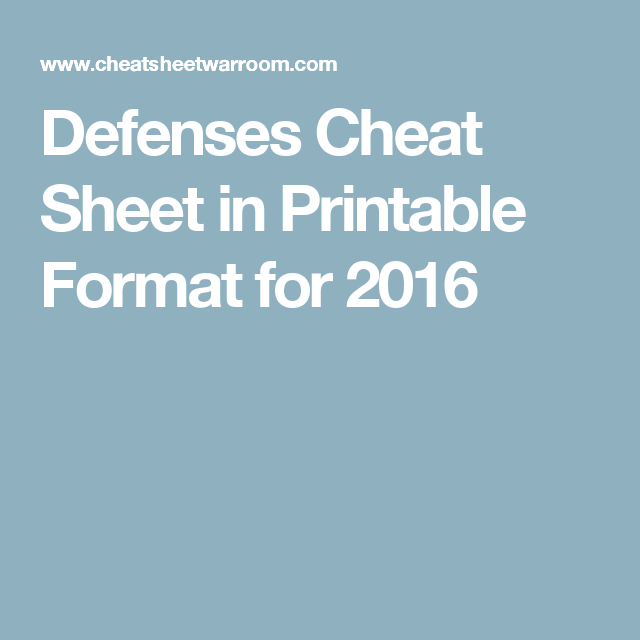 image about Fantasypros Printable Cheat Sheet identified as Defenses Cheat Sheet within just Printable Layout for 2016 Myth