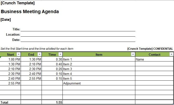 Business Meeting Agenda Template Excel  Company Templates