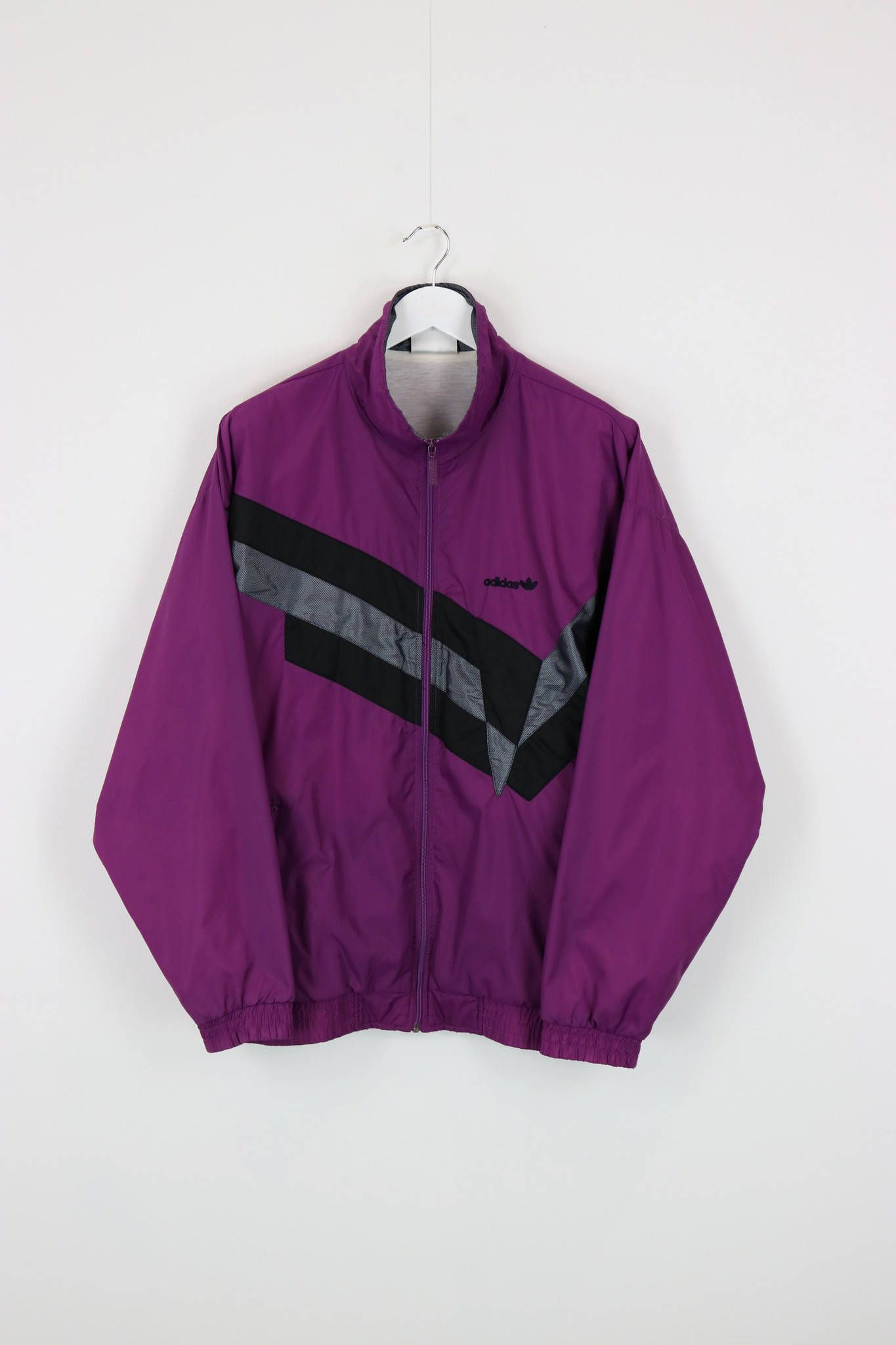 Vintage adidas Trefoil Windbreaker tracksuit Top chaqueta púrpura / negro