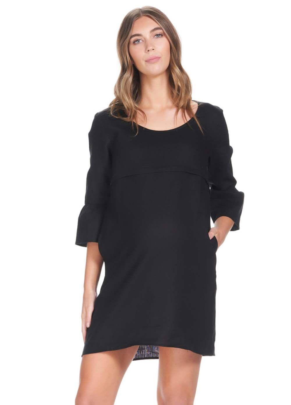 c14df7692689 Soon Maternity - Rubi Linen Feeding Dress in Black in 2019 ...