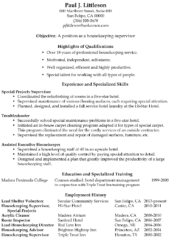 Functional Resume Sample Housekeeping Supervisor