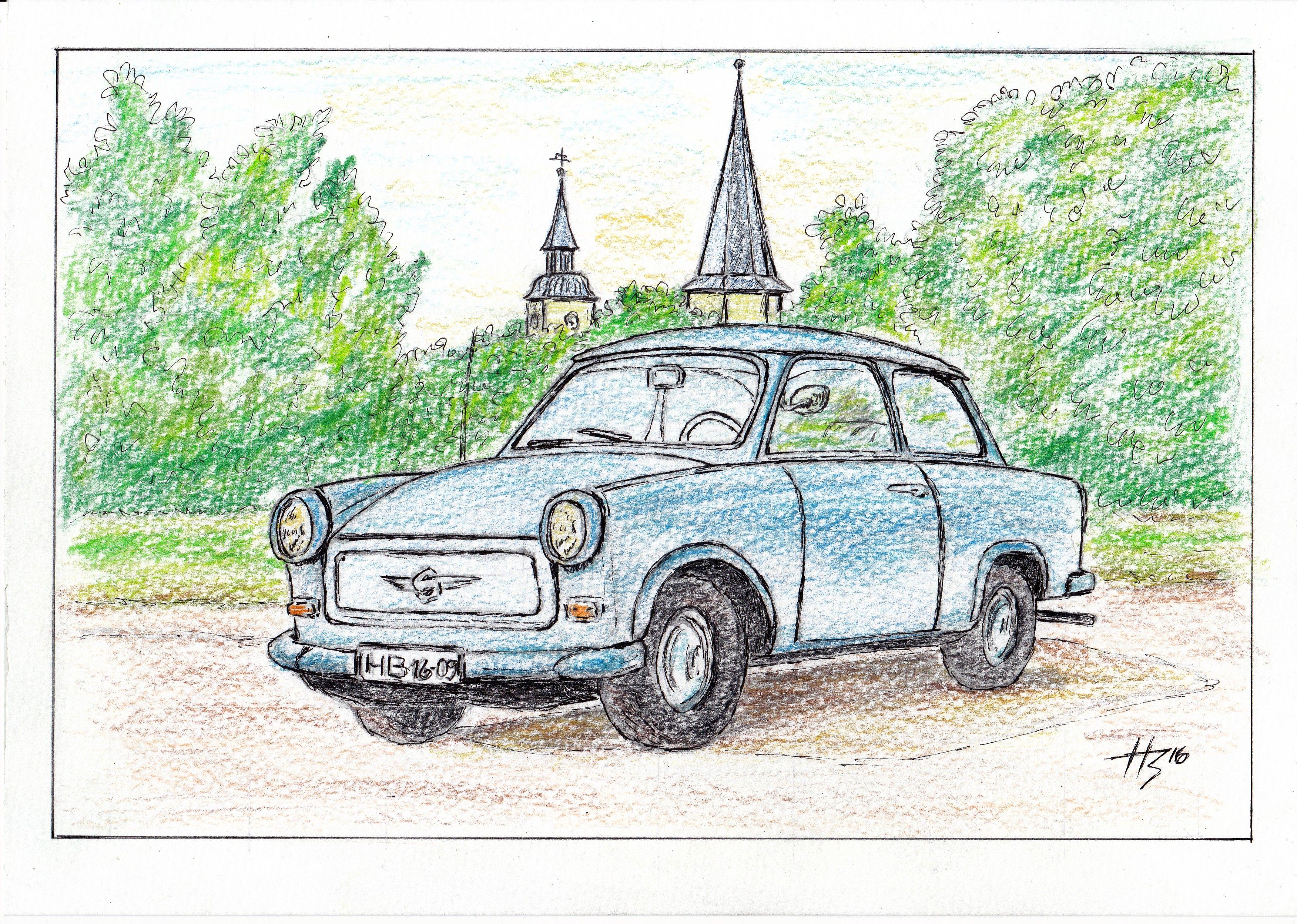 Der himmelblaue Trabant gez. Helmut Bisovski   Malen und ...