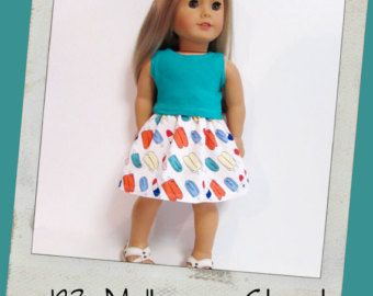 "18"" Doll Clothes, AG doll clothes- Teal Tank top and Popsicle print skirt fits 18"" dolls like American Girl, Maplelea"
