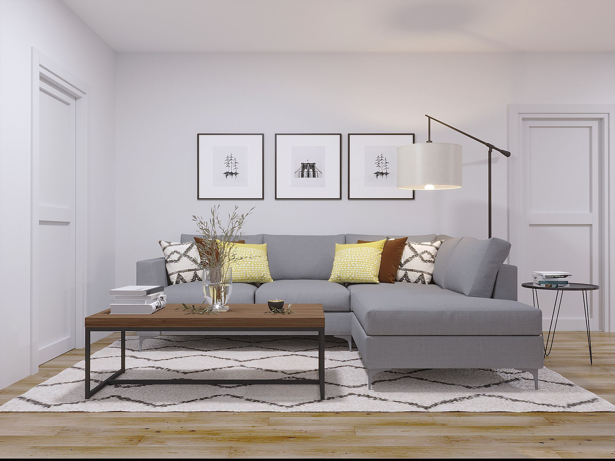 Midcentury Modern, Minimal Living Room Design by Havenly Interior Designer Lindsay #havenlylivingroom Midcentury Modern, Minimal Living Room by Havenly #havenlylivingroom