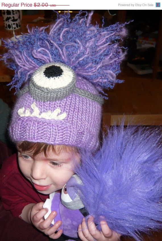 Despicable Me Minion Hat Knitting Pattern Pdf Yellow Purple One