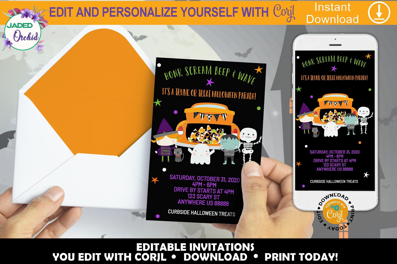 Printable Trunk or Treat Halloween Drive Thru Invitation