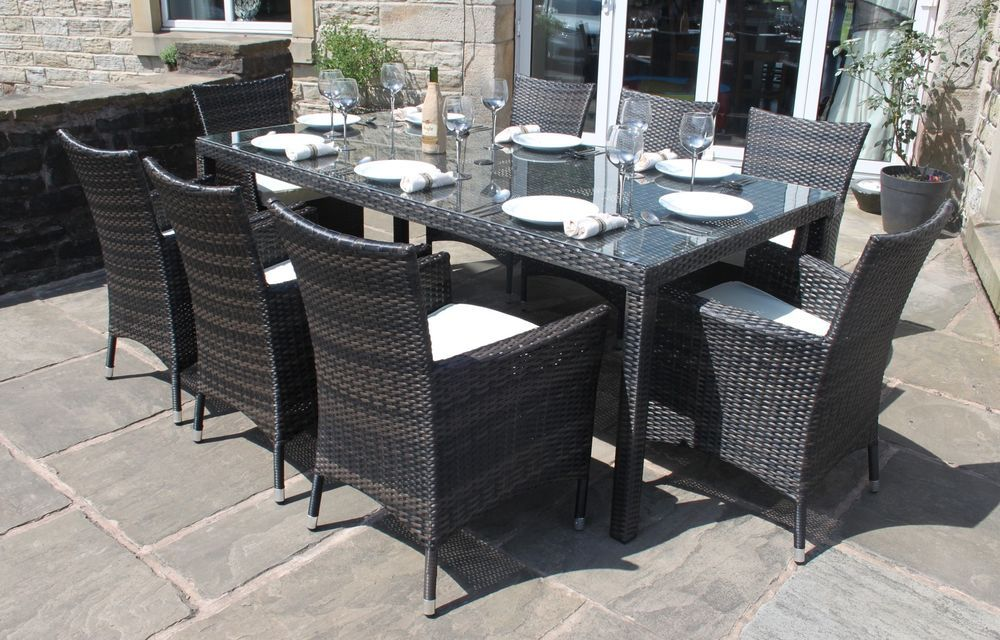 Rattan Outdoor 8 Seater Garden Furniture Dining Set In Black Or