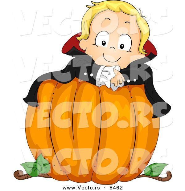 Cartoon Vector of a Halloween Vampire Boy on a Large Pumpkin