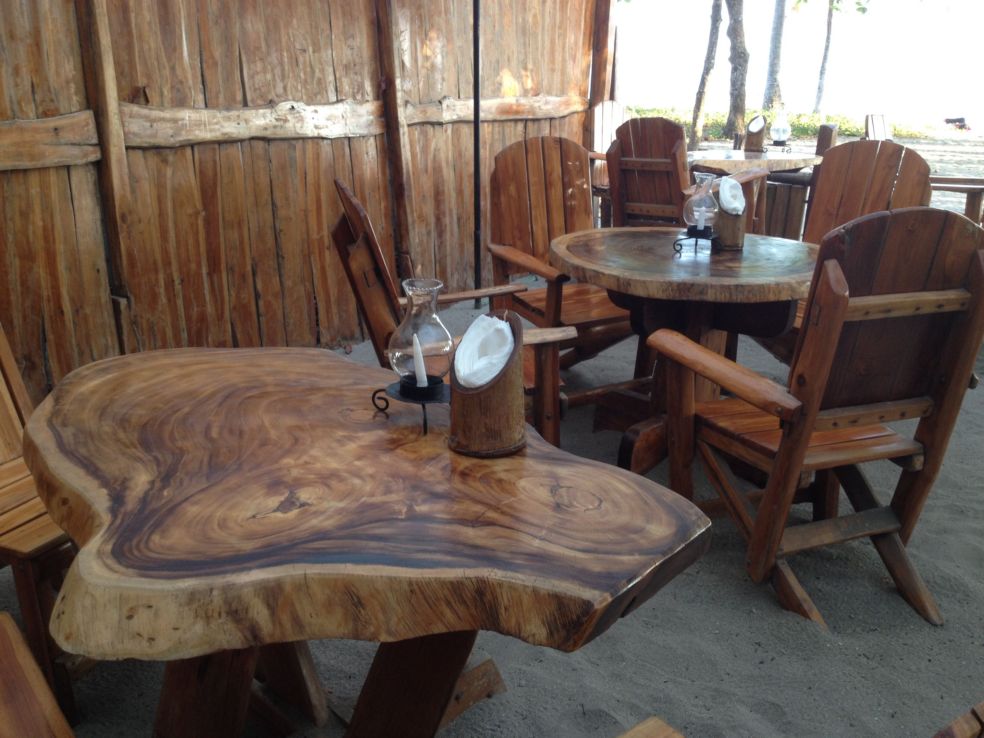 Rustic, Perfect W Sand Between Your Toes, Large Scale Wood Furniture At  Restaurant On