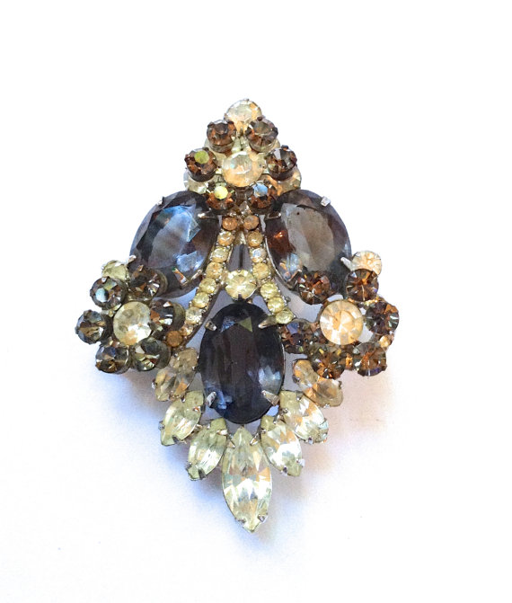 Juliana Smoke Grey & Clear Rhinestone Brooch by CrimsonVintique