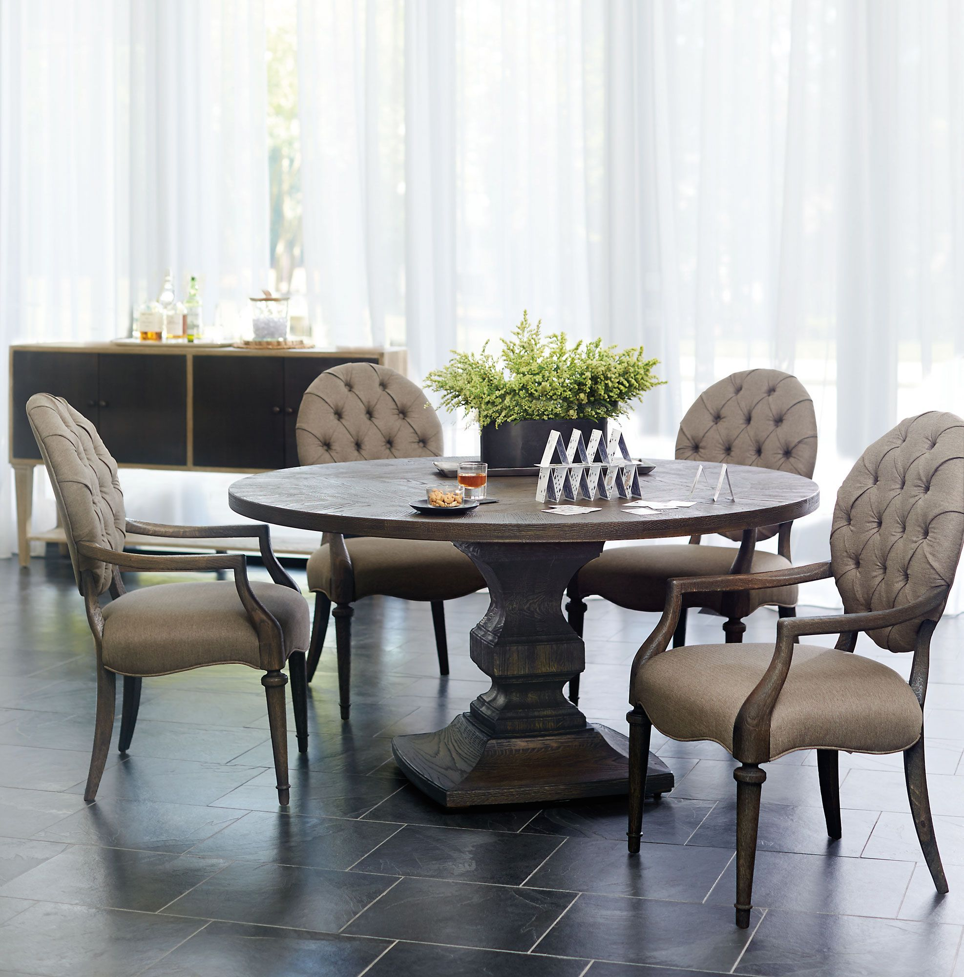 Bernhardt | Antiquarian Round Dining Table, Arm Chairs, And Sideboard | In  White Oak