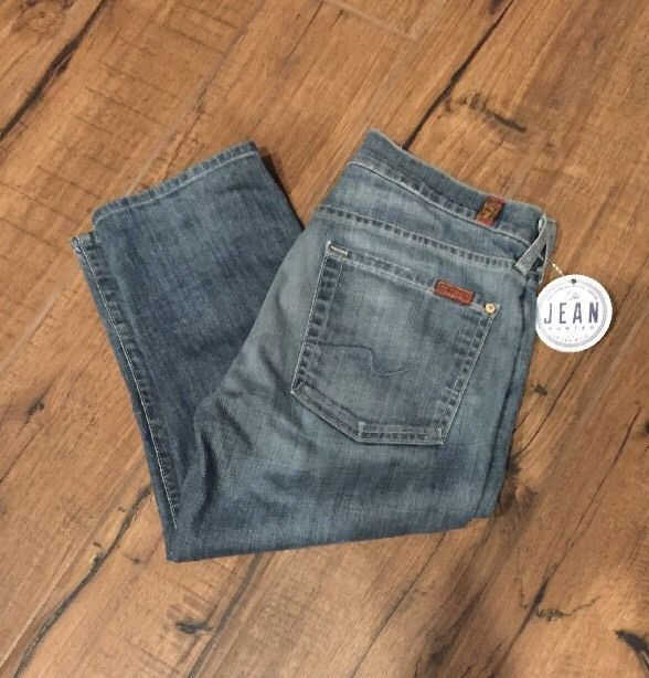 7 For All Mankind 7FAM Womens Sz 27 (30 actual) Roxanne Xropped in Norway EUC  #7ForAllMankind #RoxanneCropped