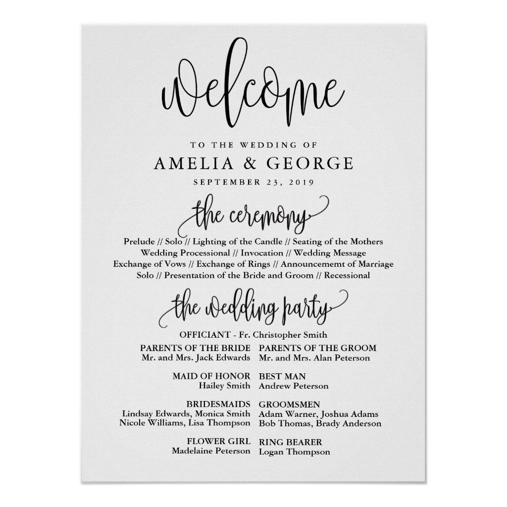 Welcome wedding program sign | Zazzle.com