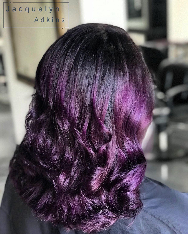Follow My Instagram Unevneib Dark Hair Violet Hair Violet Balayage Purple Hair Deep Purple Hair Pravana Purple Balayage Hair Color Purple Balayage Hair Dark