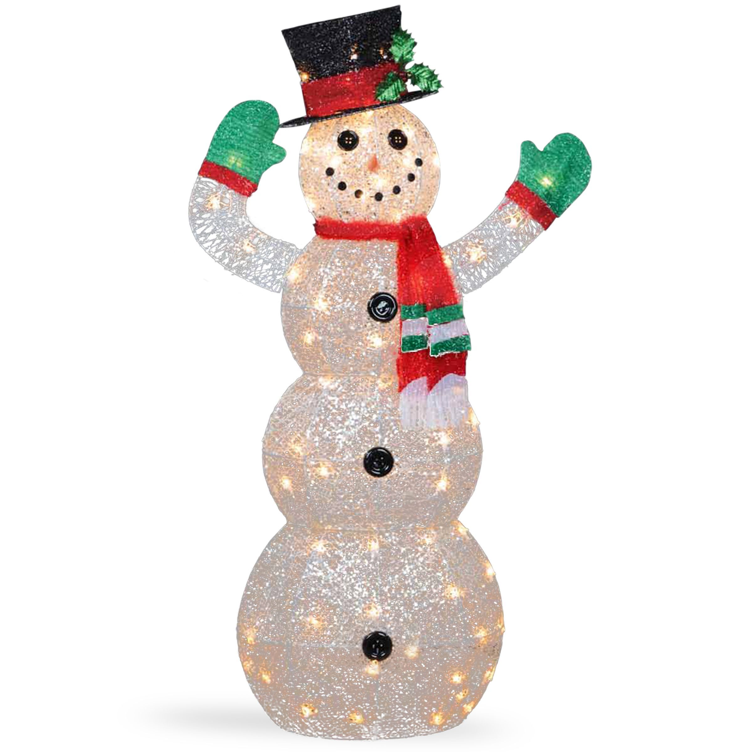 National Tree Company 48-inch Snowman Decoration With Clear Lights ...