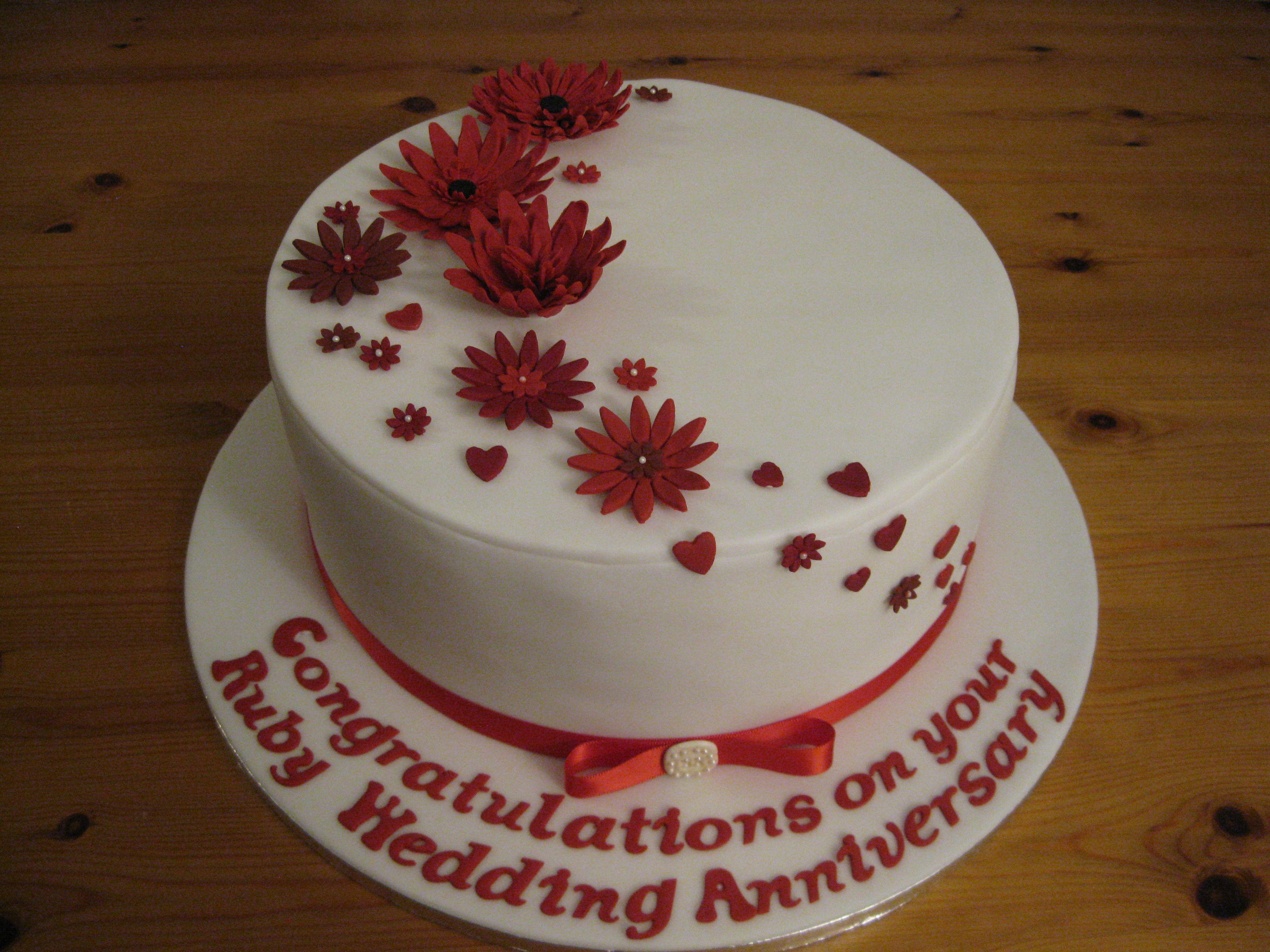 Ruby 40th Wedding Anniversary Cake 40th Wedding Anniversary