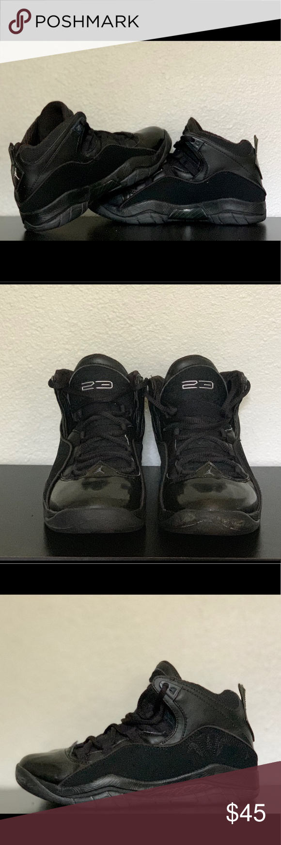 f3cfe205bd1 Nike Air Jordan 23 Black Shoes are 4.5Y; size 6 in women size. Worn once or  twice. Like new. Nike Shoes Athletic Shoes