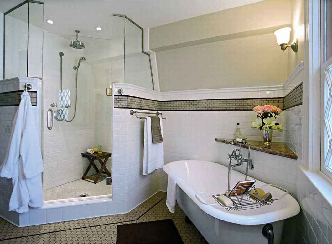 Art Deco bathroom design with standing shower and flower decor ideas