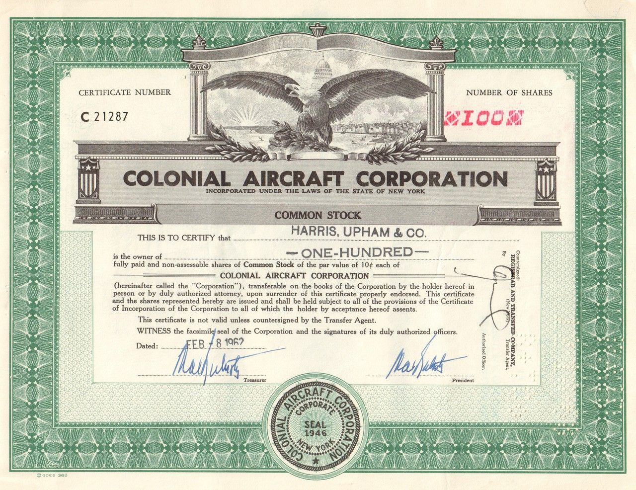 b94d1cc7 Colonial Aircraft Corporation 1962 (Eagle) | old stock certificates ...