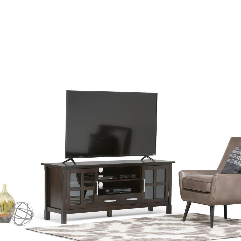 Simpli Home Kitchener Dark Walnut Brown Entertainment Center 3axcridtv 60w The Depot