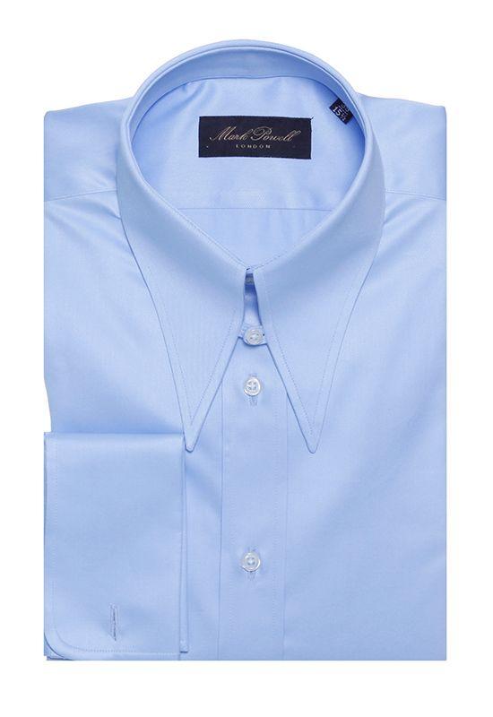 Spear Tab Collar Shirt Plain Light Blue | Mark Powell