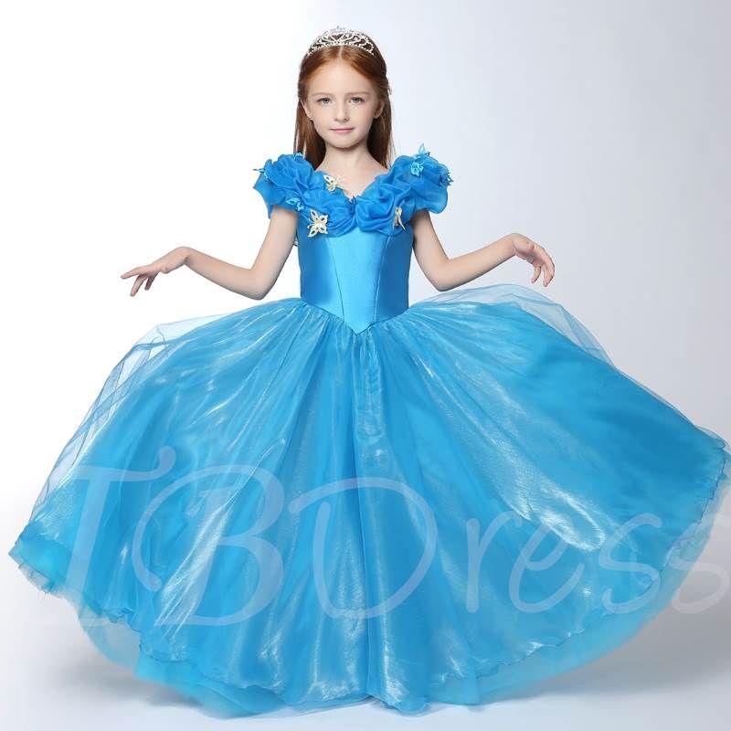 Cinderella  Kids Girls Dresses Costume Princess Party Dress Cape Crown