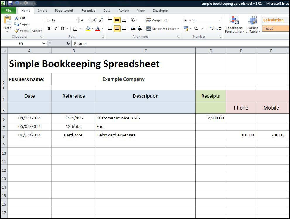 Simple Bookkeeping Spreadsheet  Business