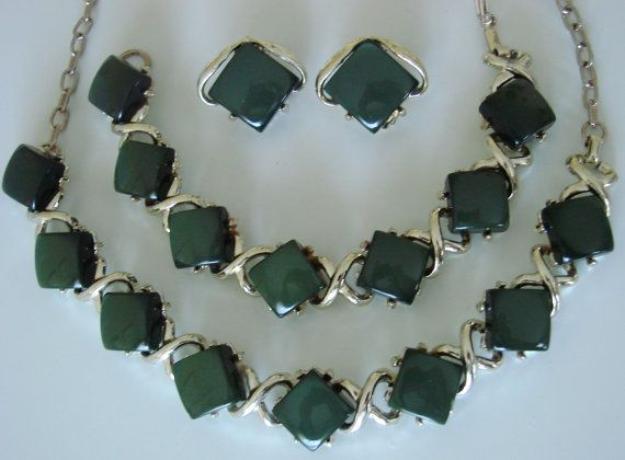 50s Vintage Olive Green Thermoset Parure Necklace by JoysShop, $46.95