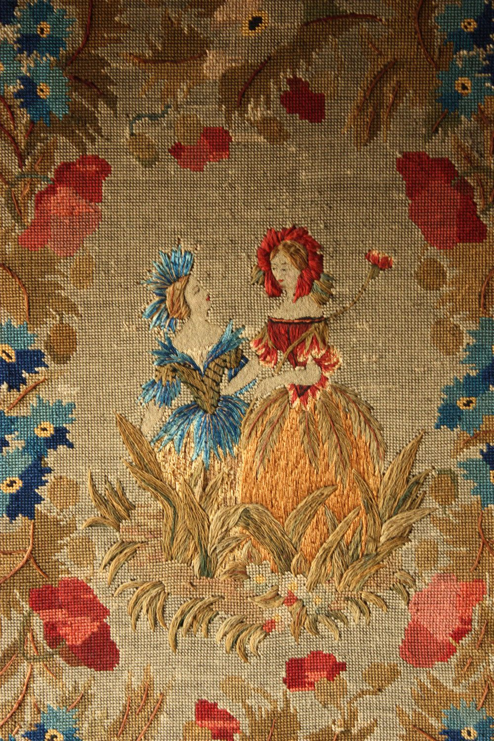 Delicate Large 30 X 22 Quot Antique French Needlepoint Canvas