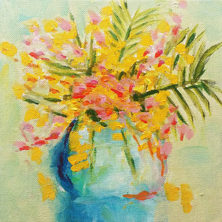 Yellow flowers in a blue vase painting by Lauren Walker