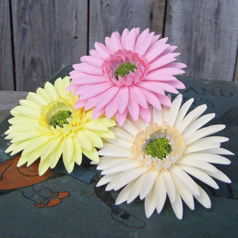 3 X Gerbera Daisies Handmade Paper Flowers Paper Flowers