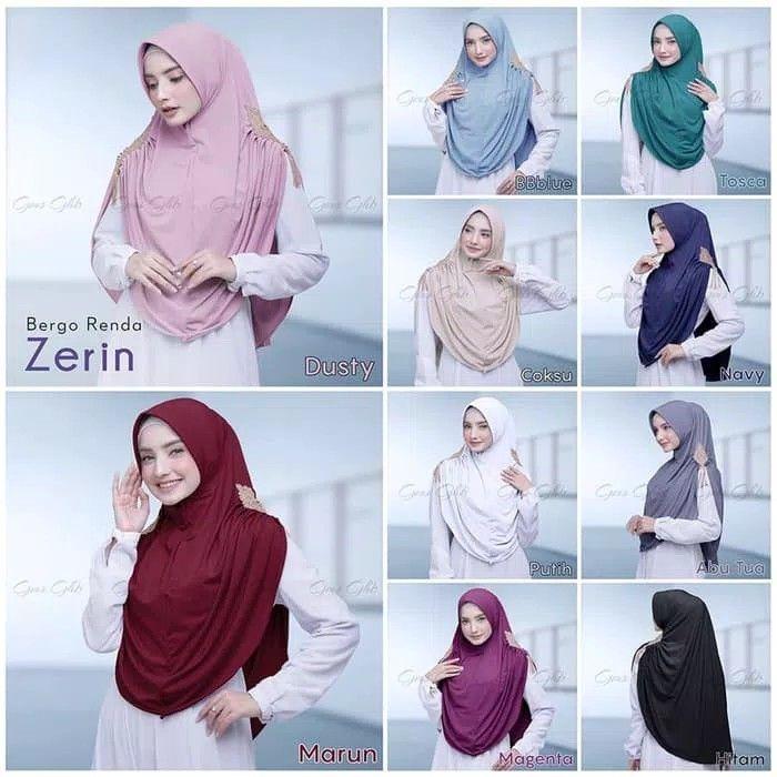 Bergo Renda Zerin Hijab Bergo Syar I Dengan Pad Busa Antem Dan Variasi Kerut Dan Renda Prada Impor Warna Emas Di Bagian Bahu Samping Ka Gaya Hijab Hijab Cocok